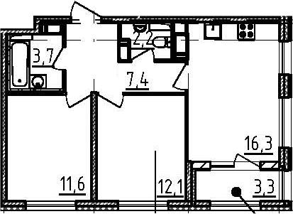 3Е-к.кв, 55 м²