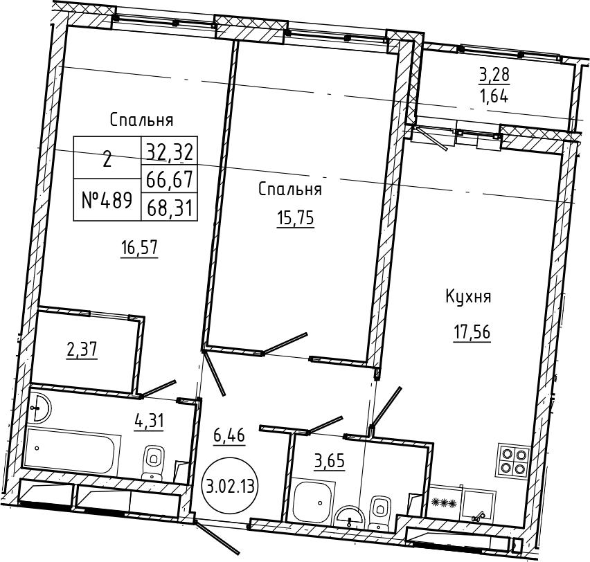 3Е-комнатная, 68.31 м²– 2
