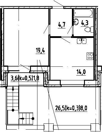 1-к.кв, 72.47 м²