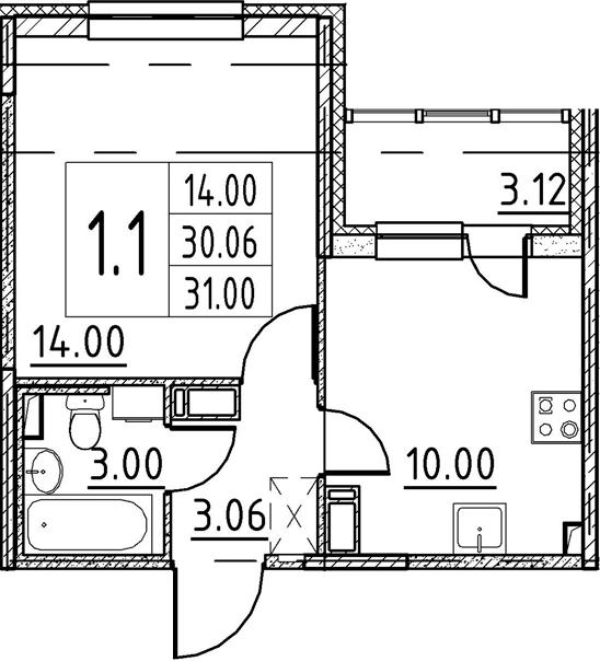 1-к.кв, 30.06 м², 3 этаж