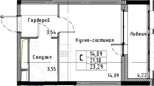 Студия, 23.29 м²– 2