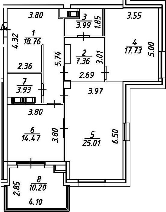 2-к.кв, 101.45 м²