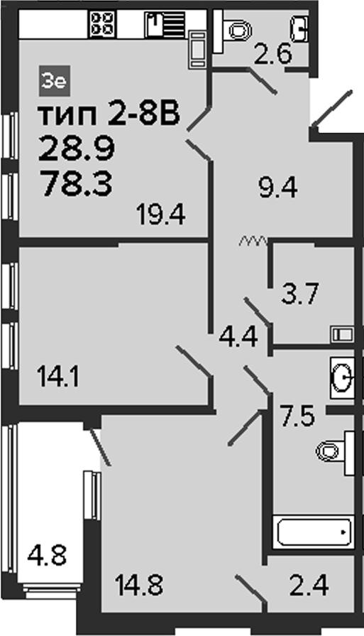 3-к.кв (евро), 83.1 м²