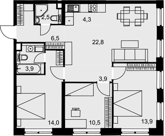 4Е-к.кв, 82.3 м², 18 этаж