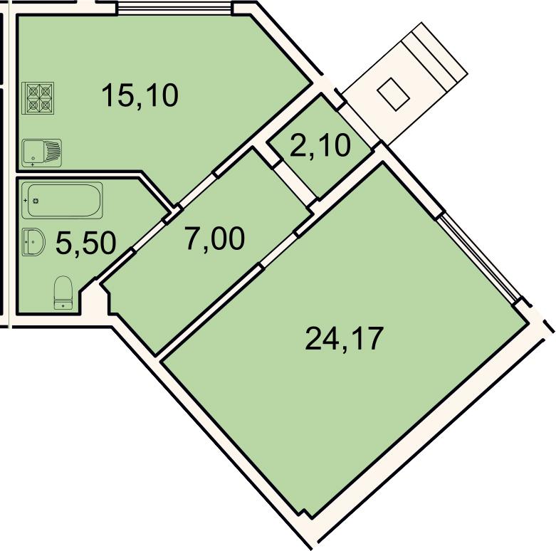 1-комнатная, 53.9 м²– 2