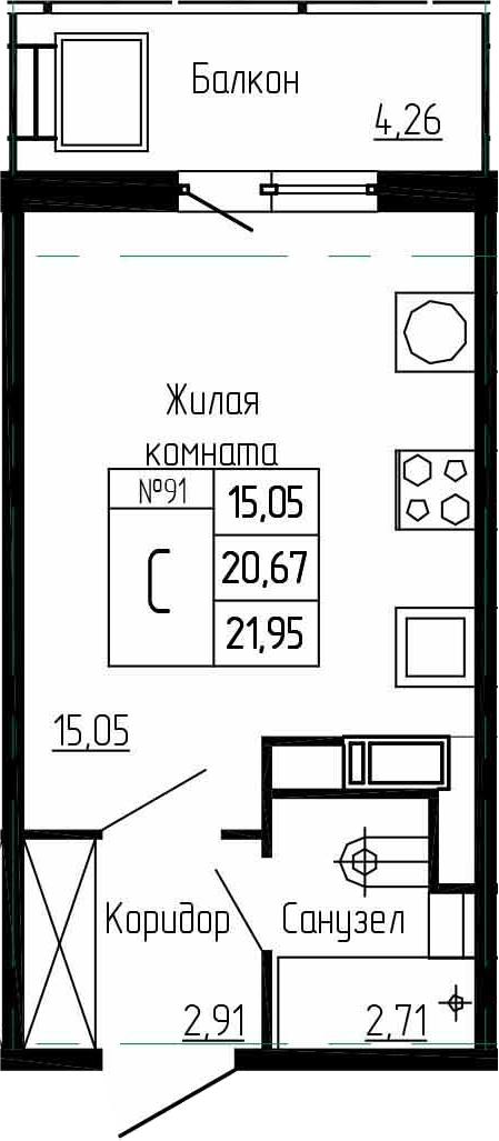 Студия, 24.93 м²
