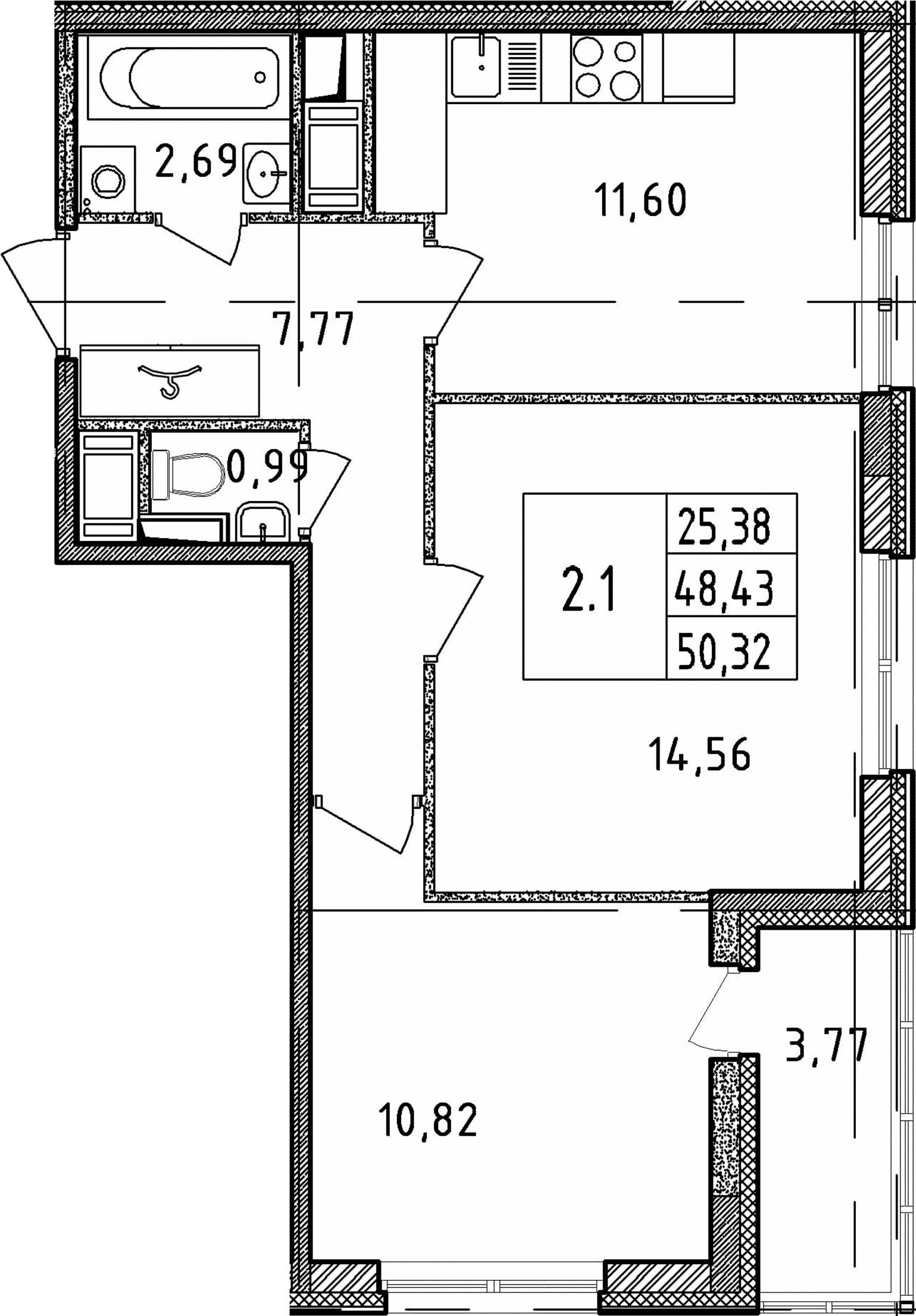 2-к.кв, 50.32 м²