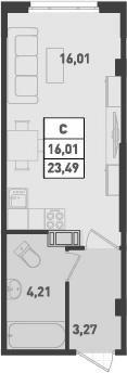 Студия, 23.49 м²