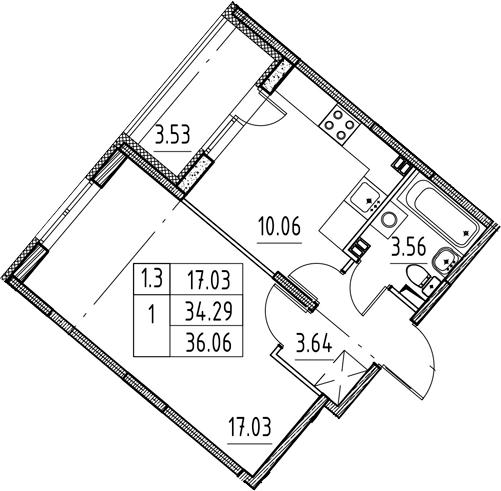 1-комнатная, 34.29 м²– 2