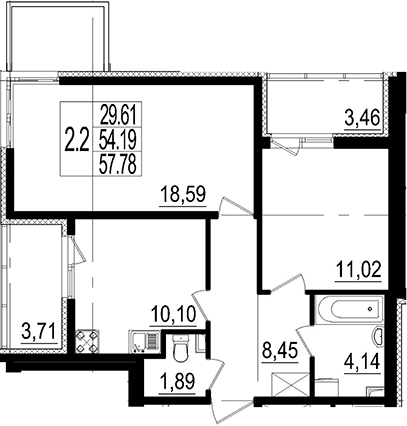 2-к.кв, 57.78 м²
