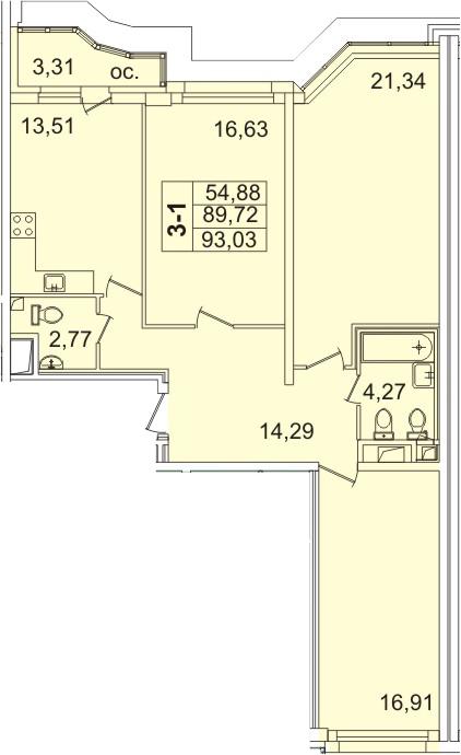 3-к.кв, 91.5 м²