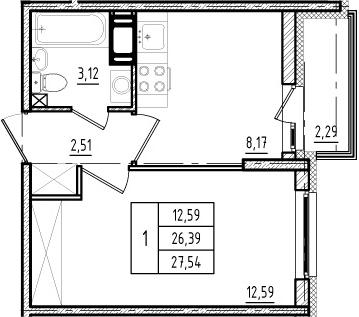 1-к.кв, 26.39 м²