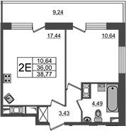 2-к.кв (евро), 45.24 м²
