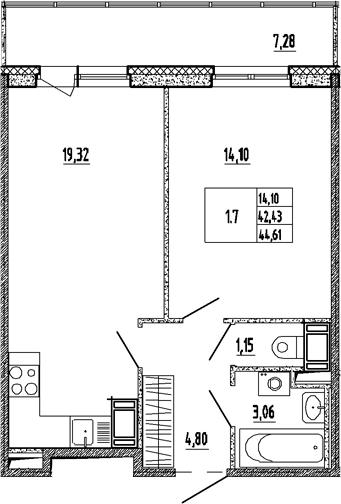 2Е-к.кв, 42.43 м², 6 этаж