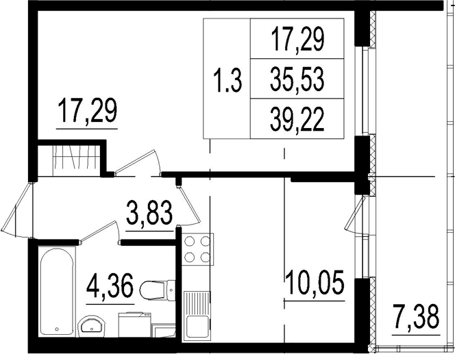 1-комнатная, 35.53 м²– 2