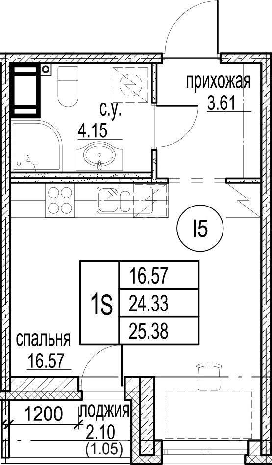 Студия, 25.86 м²– 2