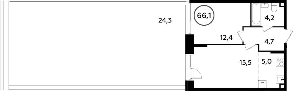 2Е-комнатная, 66.1 м²– 2
