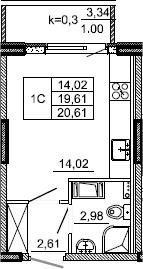 Студия, 20.61 м², 10 этаж