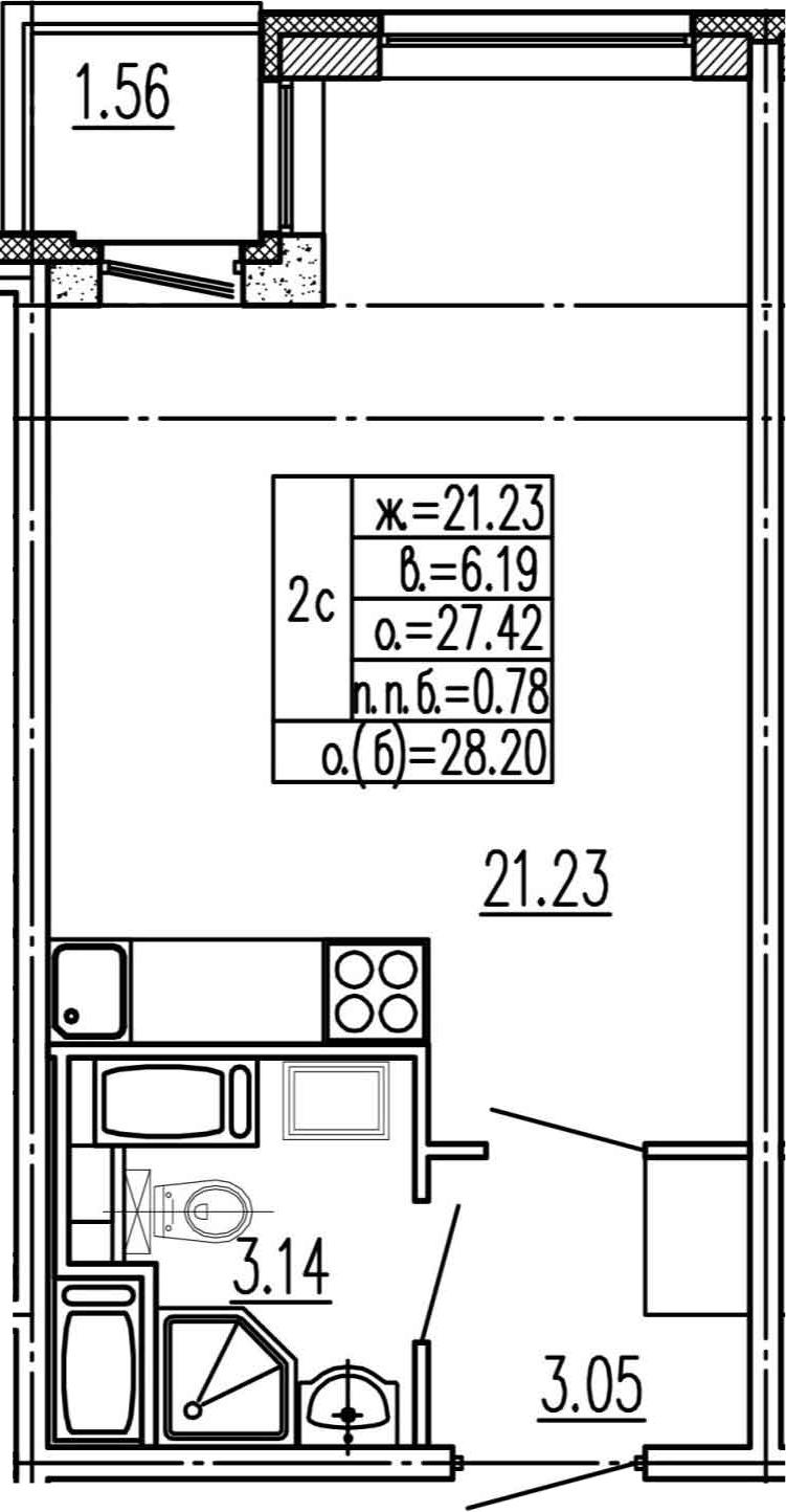 Студия, 27.42 м², 2 этаж – Планировка