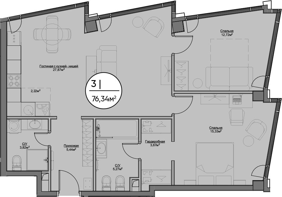 3Е-к.кв, 76.34 м²