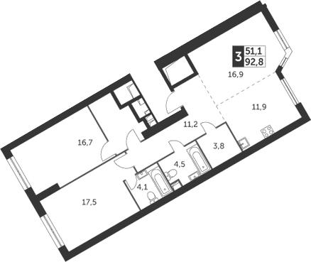 3-к.кв, 92.8 м²