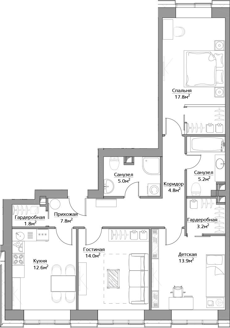 3-комнатная, 86.1 м²– 2