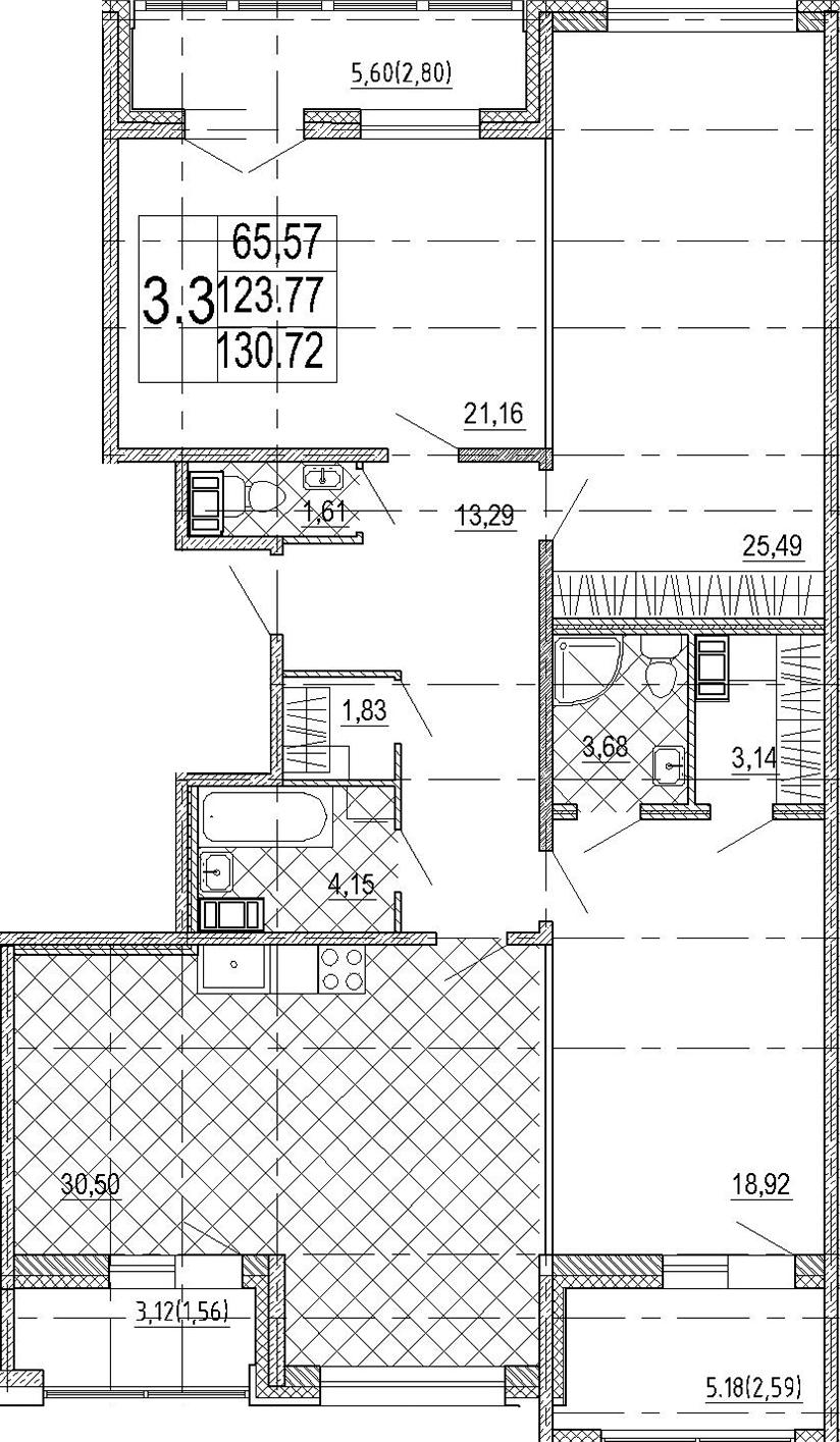 4Е-комнатная квартира, 130.72 м², 6 этаж – Планировка