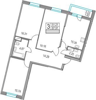 4-к.кв (евро), 91.14 м²