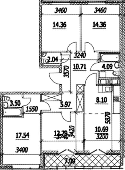 5Е-к.кв, 107.69 м², от 13 этажа