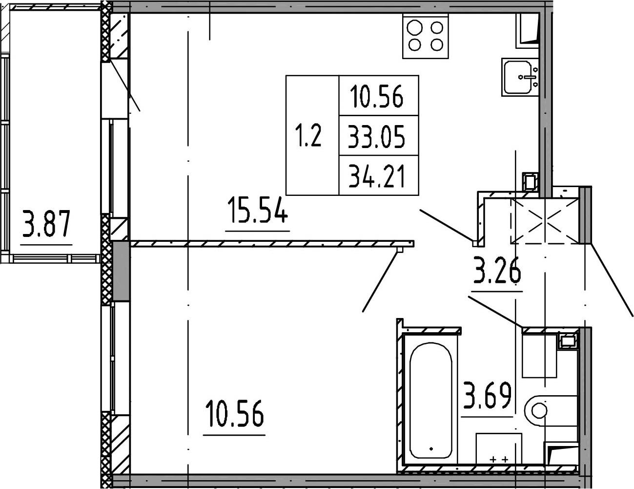 2Е-к.кв, 33.05 м², 3 этаж