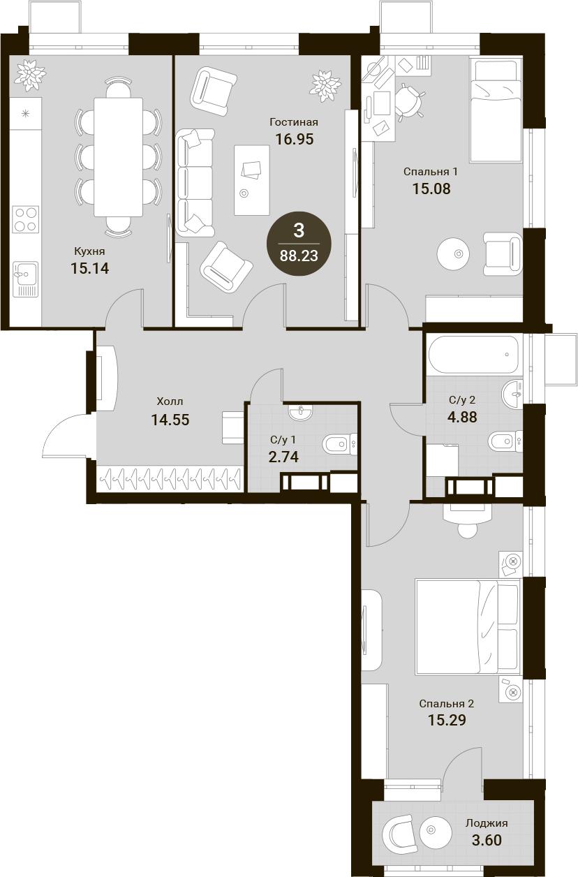 4Е-к.кв, 88.23 м²
