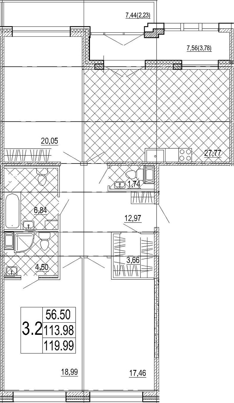 4Е-к.кв, 119.99 м², 7 этаж
