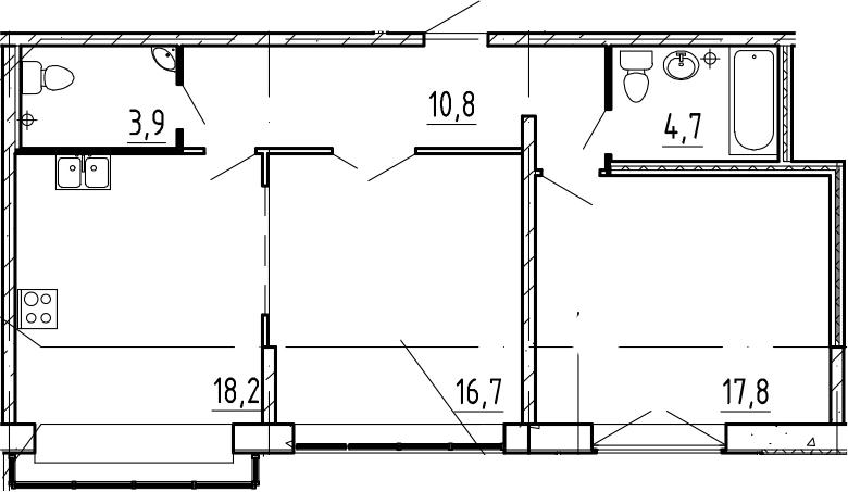 3-к.кв (евро), 72.1 м²