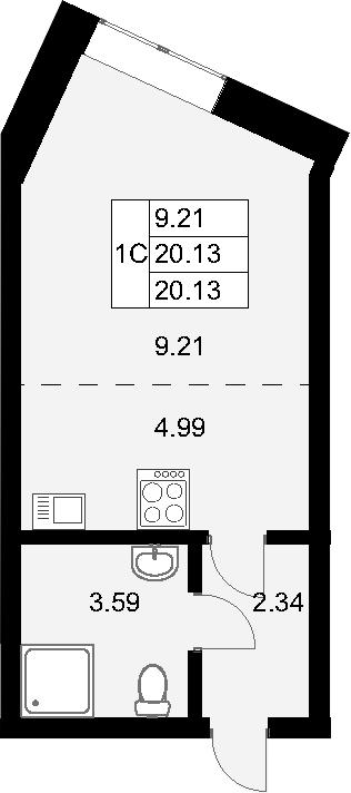 Студия, 20.13 м²