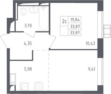 2Е-к.кв, 33.87 м², 8 этаж