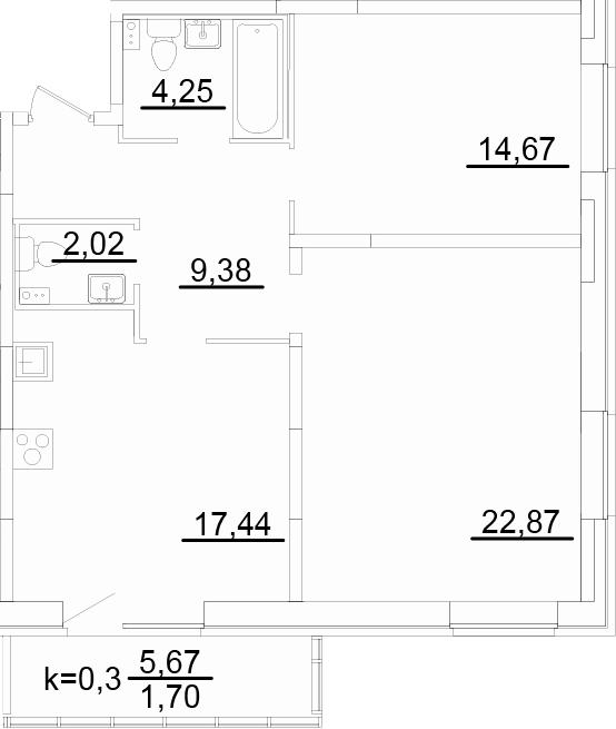 3Е-к.кв, 72.33 м², 2 этаж