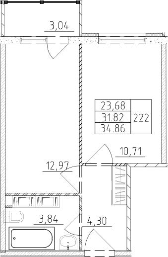1-к.кв, 34.86 м²