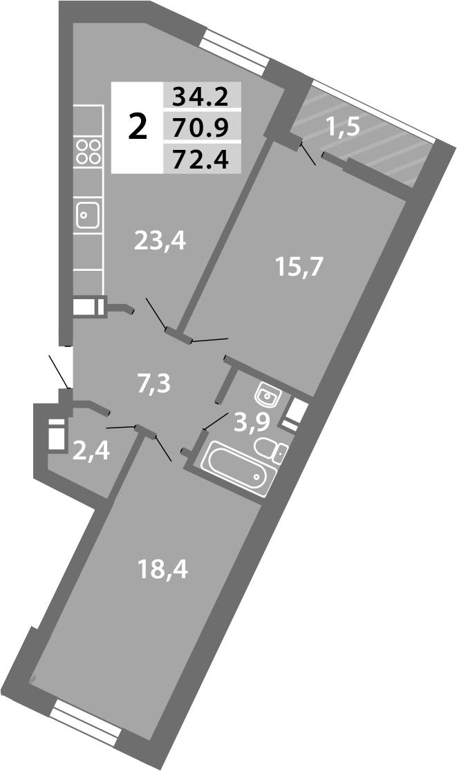 3Е-комнатная, 72.36 м²– 2