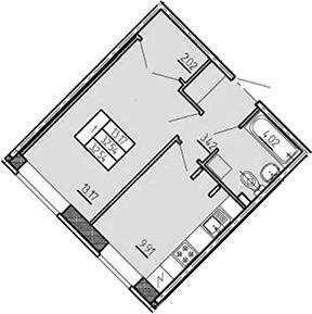 1-к.кв, 32.54 м², 1 этаж