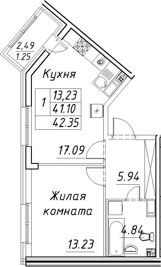 2Е-к.кв, 42.35 м²