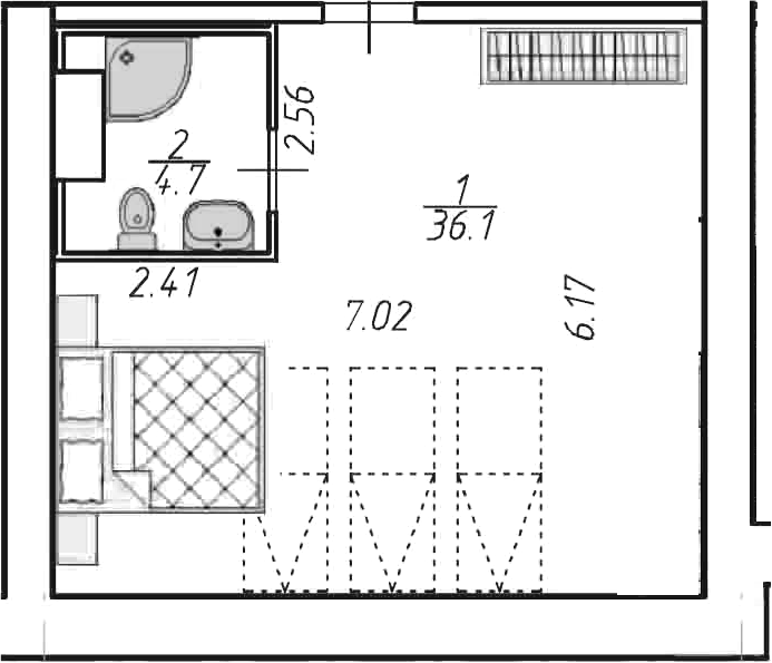 Студия, 40.8 м²– 2