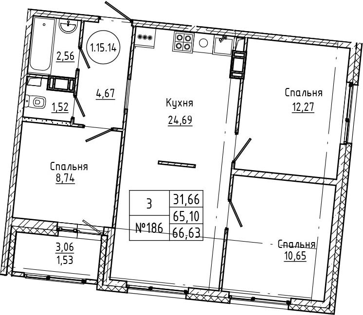 4Е-к.кв, 66.63 м², 15 этаж