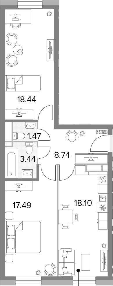 3Е-комнатная, 67.68 м²– 2