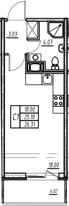Студия, 24.59 м²– 2