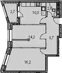 2-к.кв, 60 м²