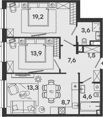 3-к.кв (евро), 72.4 м²