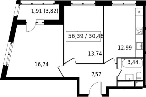 2-к.кв, 58.3 м²