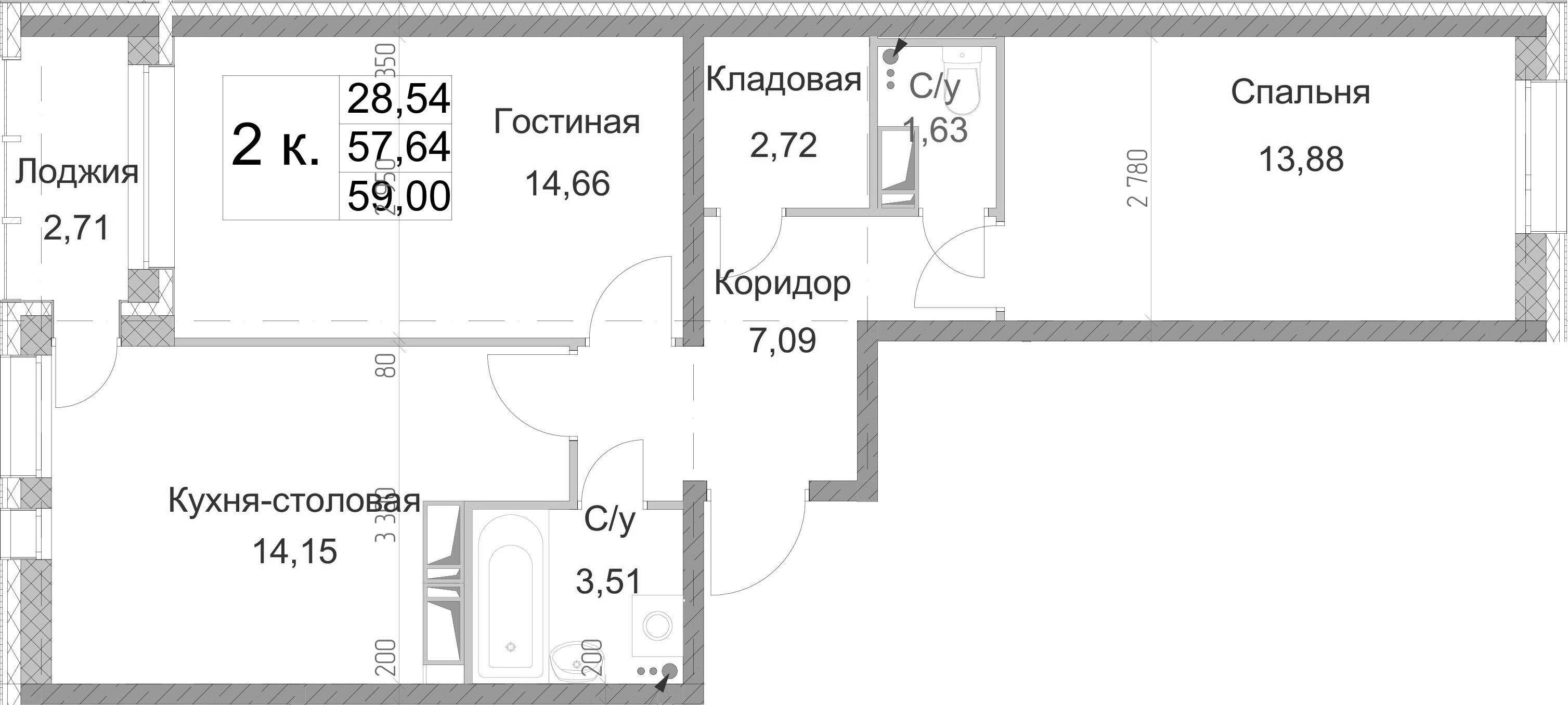 2-к.кв, 60.35 м²