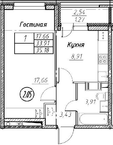 1-к.кв, 35.18 м², от 2 этажа