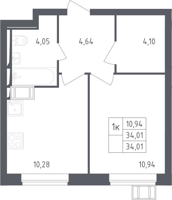 1-комнатная, 34.01 м²– 2